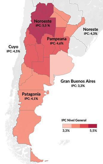 La inflación de enero 2021 por regiones, en base al Indec