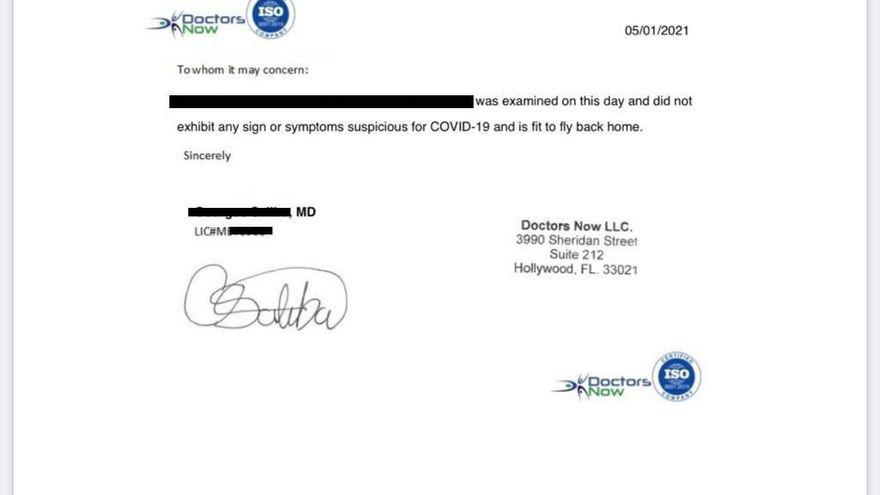 certificado falso Certificado médico falso presentado por el joven para viajar
